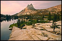 Granite slab, Upper Cathedral Lake, and Cathedral Peak, sunset. Yosemite National Park ( color)