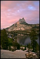 Cathedral Peak and upper Lake at sunset. Yosemite National Park, California, USA. (color)