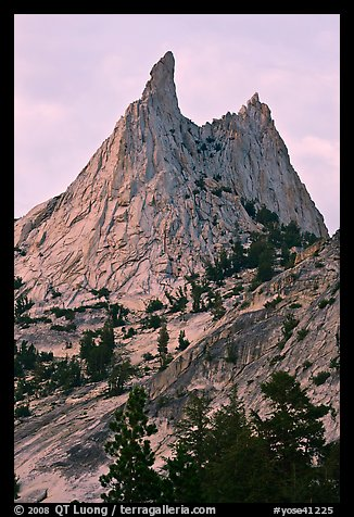 Spires on Cathedral Peak at sunset. Yosemite National Park (color)