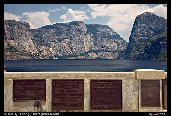 Commemorative inscriptions on dam and Hetch Hetchy reservoir. Yosemite National Park (color)
