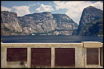 Commemorative inscriptions on dam and Hetch Hetchy reservoir. Yosemite National Park, California, USA. (color)