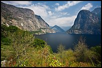 Wapama Fall, Hetch Hetchy Dome, Kolana Rock, Hetch Hetchy. Yosemite National Park, California, USA. (color)