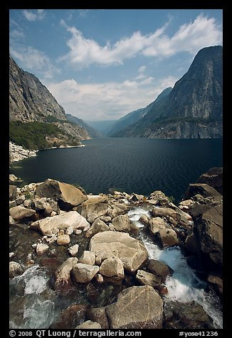 Stream from Wapama fall and Hetch Hetchy reservoir. Yosemite National Park (color)