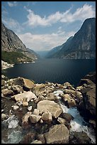 Stream from Wapama fall and Hetch Hetchy reservoir. Yosemite National Park, California, USA.