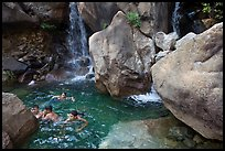 Children swimming in pool at the base of Wapama falls. Yosemite National Park ( color)