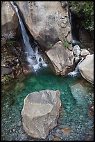 Boulder and emerald waters in pool, Wapama Falls, Hetch Hetchy. Yosemite National Park, California, USA.
