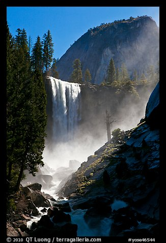 Vernal Fall with backlit mist, morning. Yosemite National Park (color)