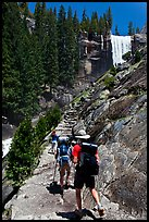 Backpackers on Mist Trail. Yosemite National Park ( color)