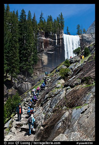 Crowded Mist Trail and Vernal fall. Yosemite National Park (color)