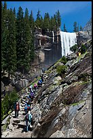 Crowded Mist Trail and Vernal fall. Yosemite National Park, California, USA. (color)
