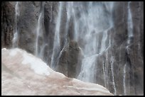 Neve at the base of Ribbon Falls. Yosemite National Park, California, USA.