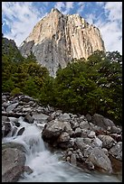 West face of El Capitan and creek. Yosemite National Park ( color)