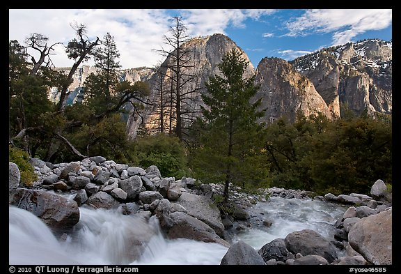 Creek flowing towards Valley and Cathedral Rocks. Yosemite National Park (color)