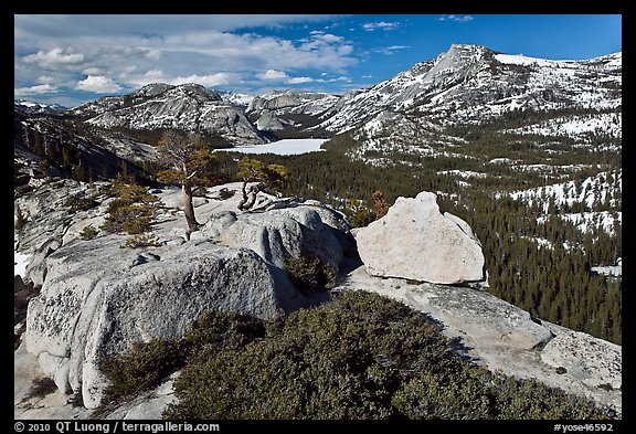 Granite outcrops and distant Tenaya Lake in the spring. Yosemite National Park (color)