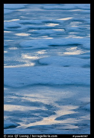 Melting snow pattern on lake. Yosemite National Park (color)