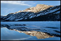 Tenaya Peak reflected in partly iced Tenaya Lake. Yosemite National Park ( color)