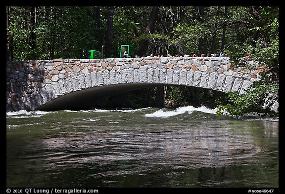Pohono Bridge with high waters. Yosemite National Park (color)