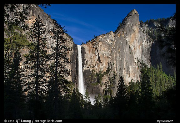 Bridalveil Fall and leaning tower, late afternoon. Yosemite National Park (color)