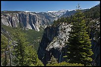 View of Valley and Silver Strand Falls from Pohono Trail. Yosemite National Park ( color)