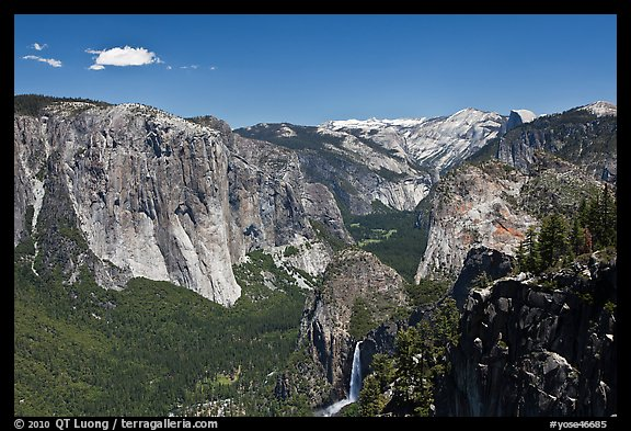 View of Bridalveil Fall and Yosemite Valley. Yosemite National Park (color)