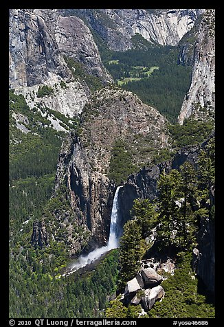 Bridalveil Fall and Yosemite Valley from South Rim. Yosemite National Park (color)