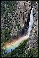 Bridalveil Fall and rainbow from above. Yosemite National Park ( color)
