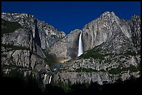 Upper and lower Yosemite Falls by moonlight. Yosemite National Park ( color)