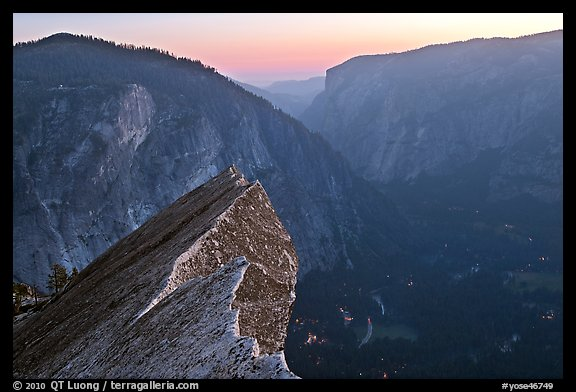 Diving Board, Glacier Point, and Yosemite Valley, sunset. Yosemite National Park (color)