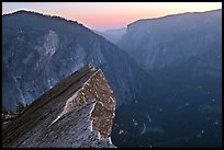 Diving Board, Glacier Point, and Yosemite Valley, sunset. Yosemite National Park, California, USA. (color)