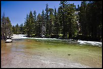 Merced River flowing over smooth granite. Yosemite National Park ( color)