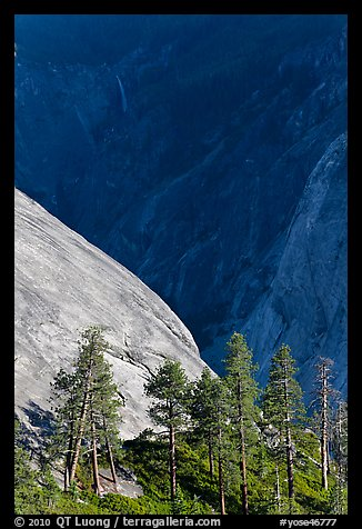 North Dome with Illouette Fall in distance. Yosemite National Park (color)