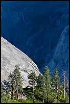 North Dome with Illouette Fall in distance. Yosemite National Park, California, USA. (color)