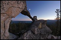 Indian Arch and moon at dusk. Yosemite National Park, California, USA. (color)