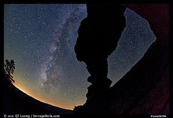 Indian Arch and Milky Way. Yosemite National Park (color)
