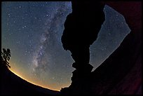 Indian Arch and Milky Way. Yosemite National Park, California, USA. (color)