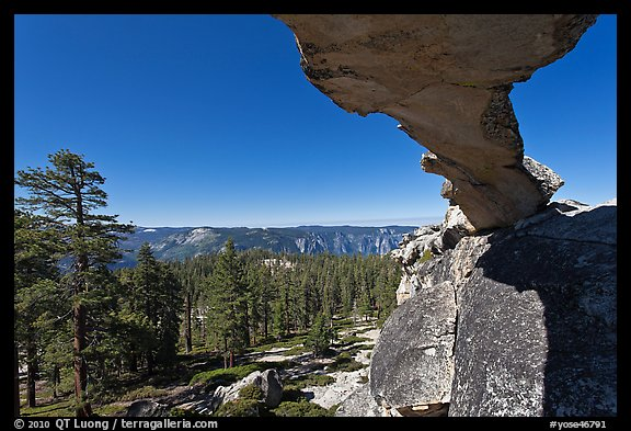 Indian Rock arch and forest, morning. Yosemite National Park (color)