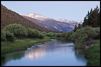 Snowy peak and Tuolumne River, Lyell Canyon, dusk. Yosemite National Park ( color)