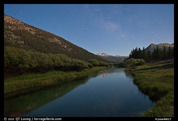 Stars above Lyell Canyon and Tuolumne River. Yosemite National Park (color)