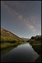 Milky Way above Lyell Canyon and Tuolumne River. Yosemite National Park, California, USA. (color)