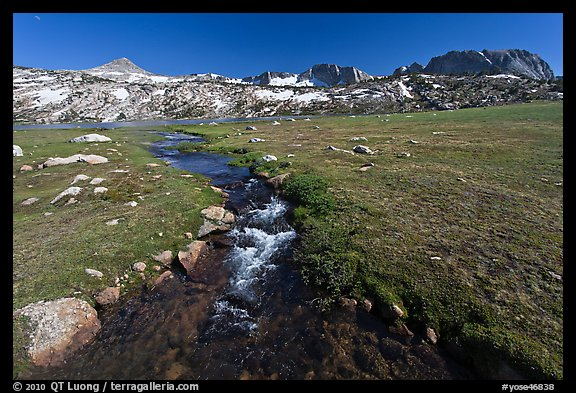 Meadow, stream, and Evelyn Lake. Yosemite National Park (color)
