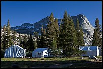 Sierra High Camp and Vogelsang peak. Yosemite National Park, California, USA. (color)