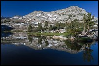 Vogelsang Peak reflected in Vogelsang Lake, morning. Yosemite National Park ( color)