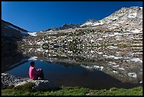 Hiker contemplating Vogelsang Lake and Peak. Yosemite National Park ( color)