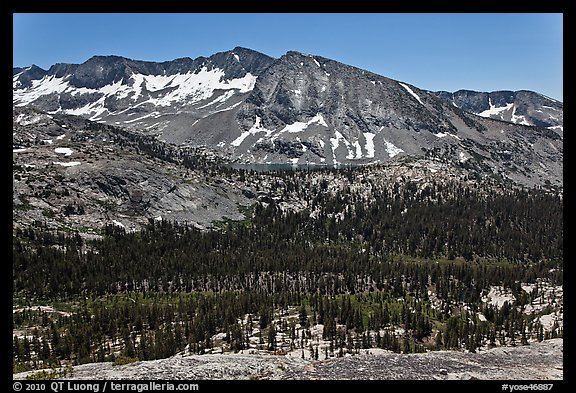 High Sierra view from Vogelsang Pass above Lewis Creek with Bernice Lake. Yosemite National Park (color)