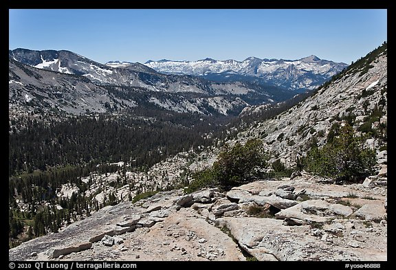 High Sierra view from Vogelsang Pass above Lewis Creek with Clark Range. Yosemite National Park (color)