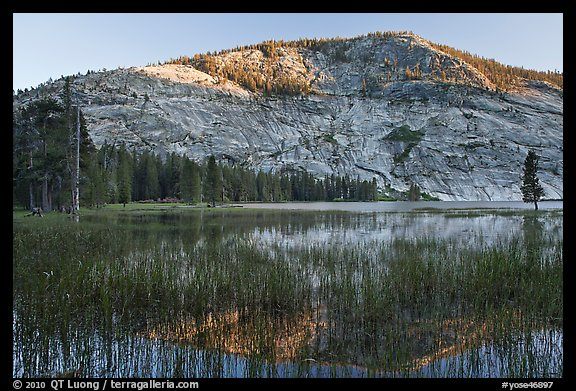 Peak reflected in Merced Lake, sunset. Yosemite National Park (color)