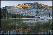 Peak reflected in Merced Lake, sunset. Yosemite National Park, California, USA. (color)
