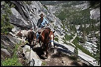 Woman leading horse pack train on trail, Upper Merced River Canyon. Yosemite National Park, California, USA. (color)