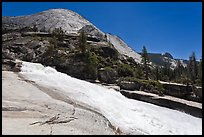 Merced River flowing over smooth granite in Upper Canyon. Yosemite National Park, California, USA. (color)