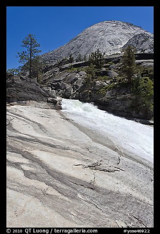Granite slab, Merced River, and dome. Yosemite National Park (color)